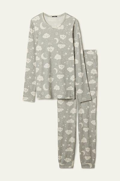 Pijama Largo de Algodón Estampado Luna y Nubes