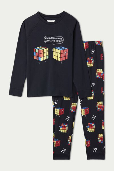 Pyjama Long in Coton Imprimé Cubes