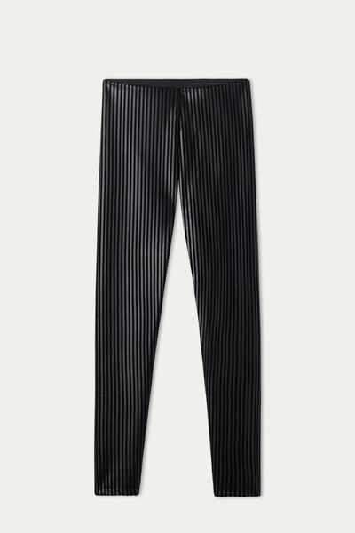 Coated-Effect, Flocked Thermal Leggings with Pinstripe