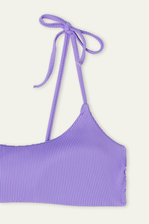 Ribbed Brassiere Bikini with Laces