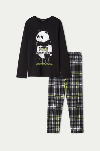 Χοντρή Βαμβακερή Μακριά Πιτζάμα για Αγόρι με Print Panda