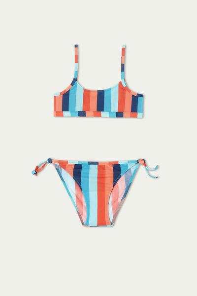 Bikini Brassiere Bambina Righe Colorate