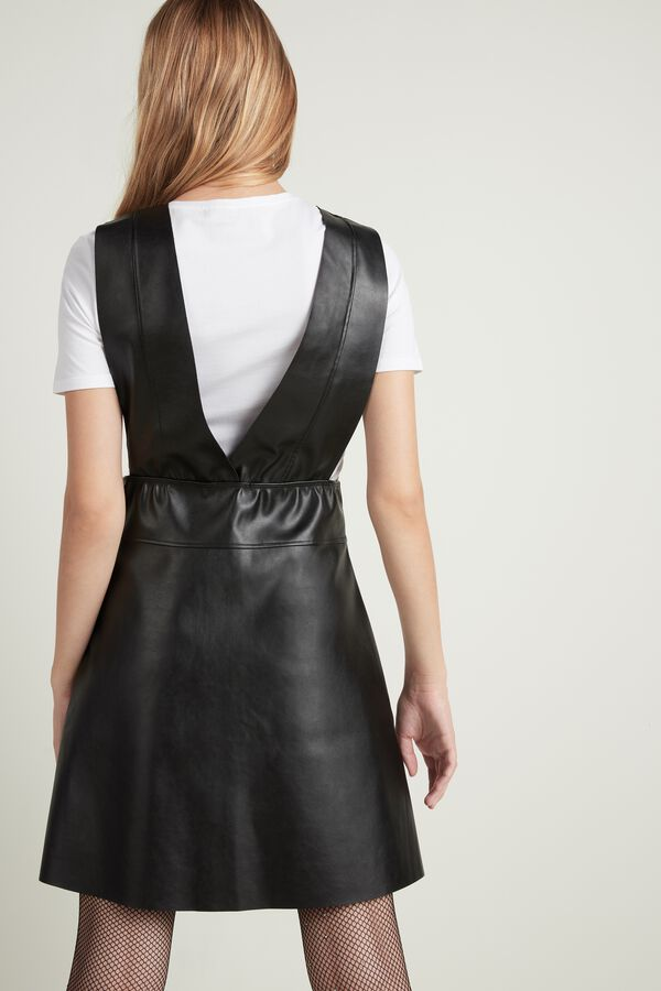 Faux Leather Dungaree Dress