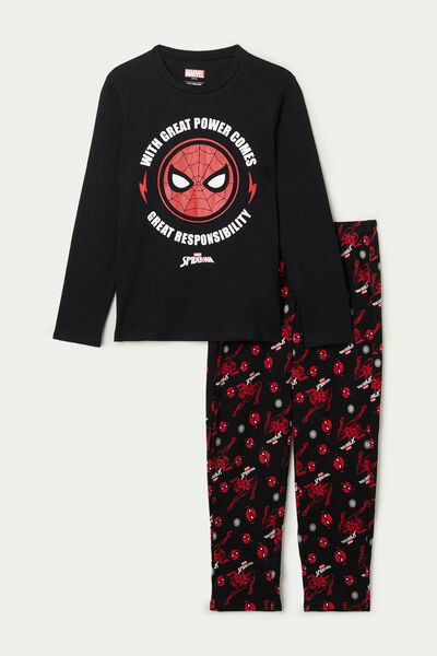Boy's Long Heavy Cotton Pyjamas with Spiderman Print
