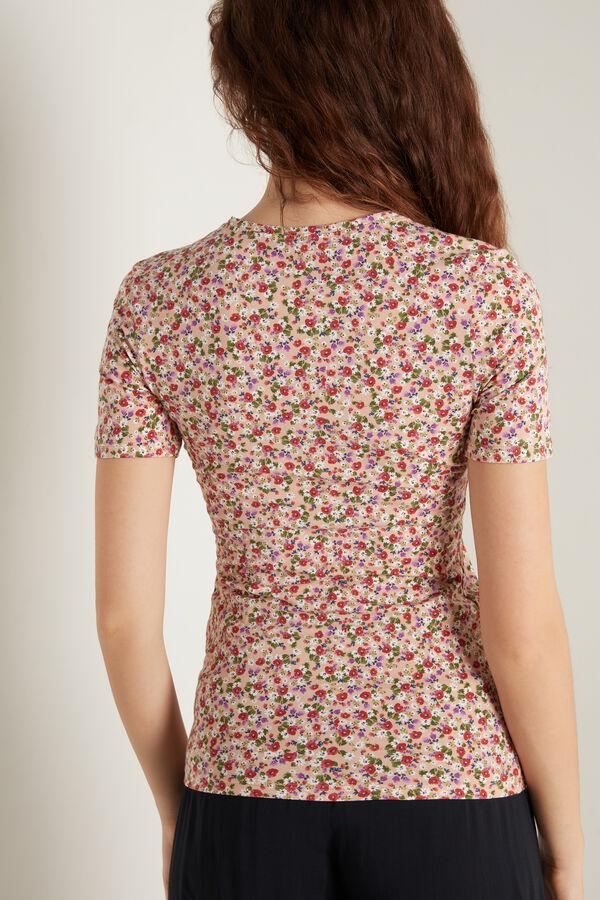 Crewneck Printed Stretch Cotton T-Shirt