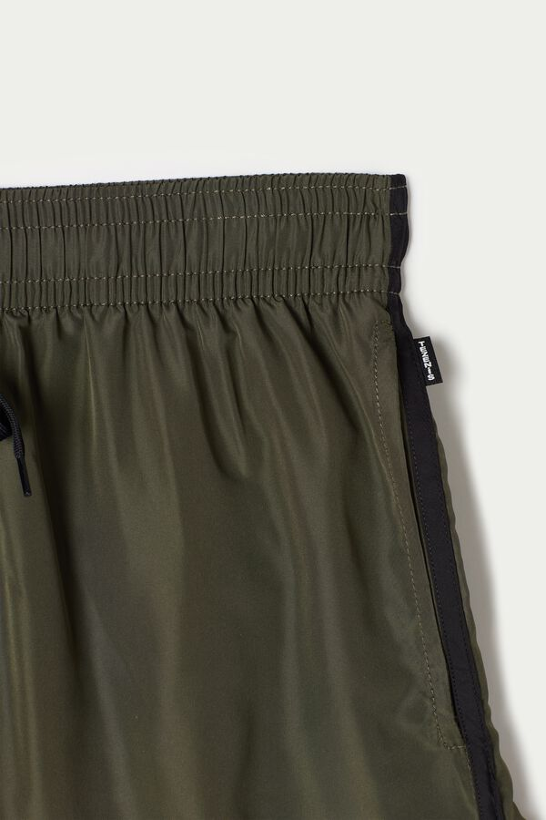Short Cloth Swim Trunks with Piping