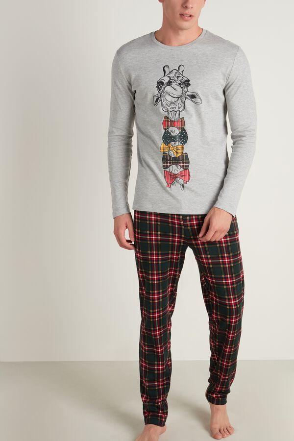Mens Giraffe/Plaid Print Pajama Set