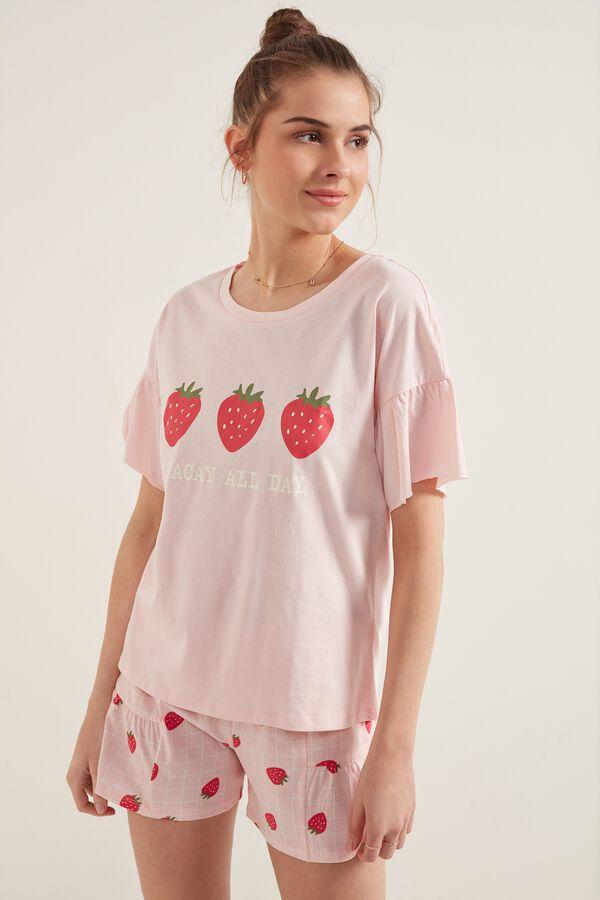 Kurzer Pyjama mit Halbarm, Volant und Erdbeerprint
