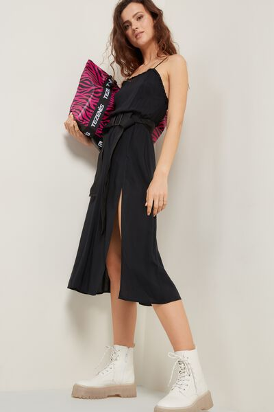 Backless Canvas Midi Dress with Ruching