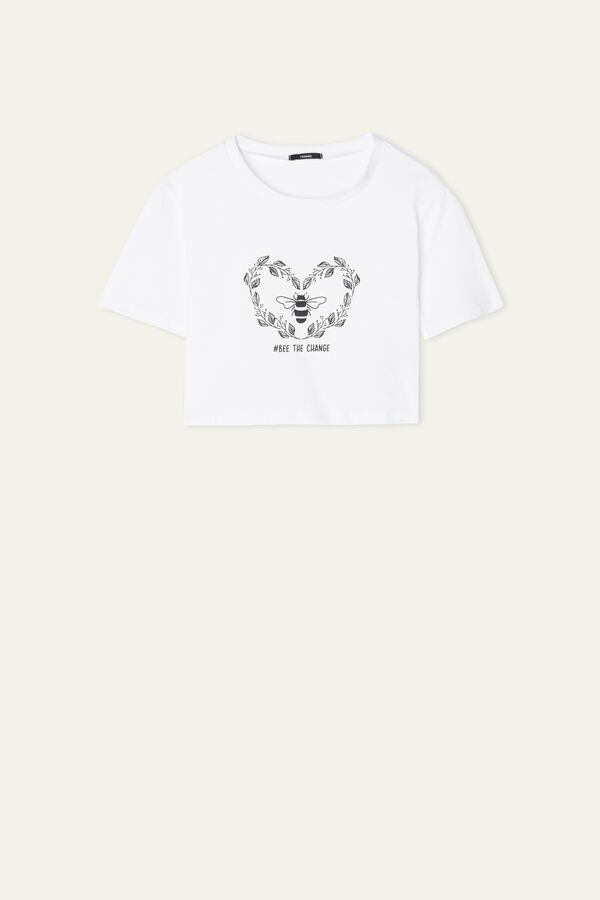 Short Organic Cotton Bee Print T-Shirt