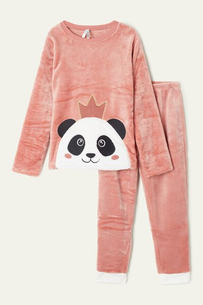 Pyjama Long en Polaire avec Patch Panda