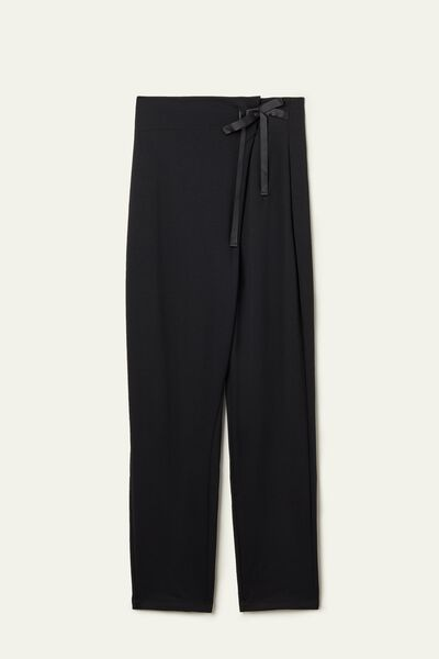 High-Waisted Trousers with Tie
