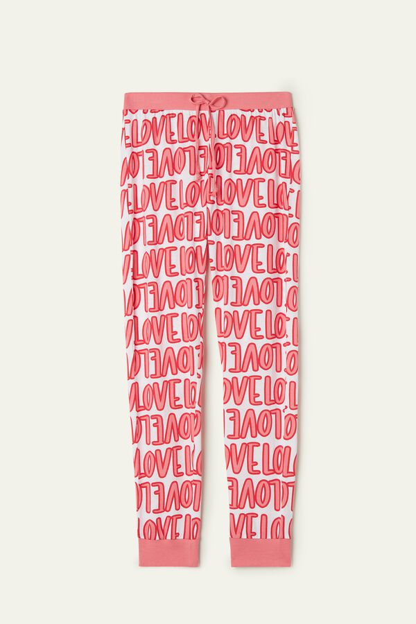 Long Printed Drawstring Cotton Pants