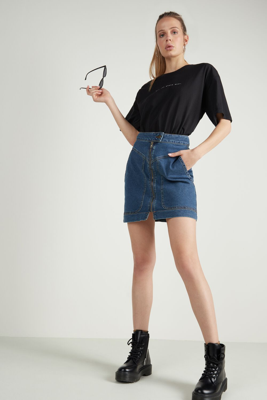 High Waisted Denim Skirt with Zip