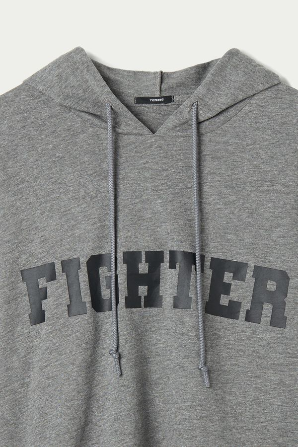 Short Hooded Sweatshirt with Lettering