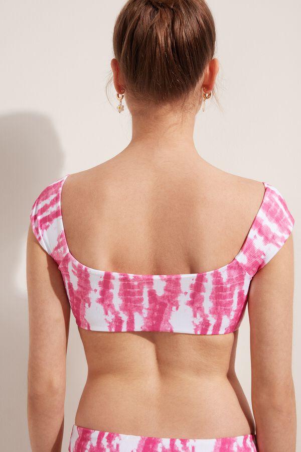 Rib Tie-Dye Bikini Top with Drawstring