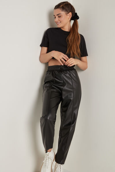 Coated Joggers with Top Stitching