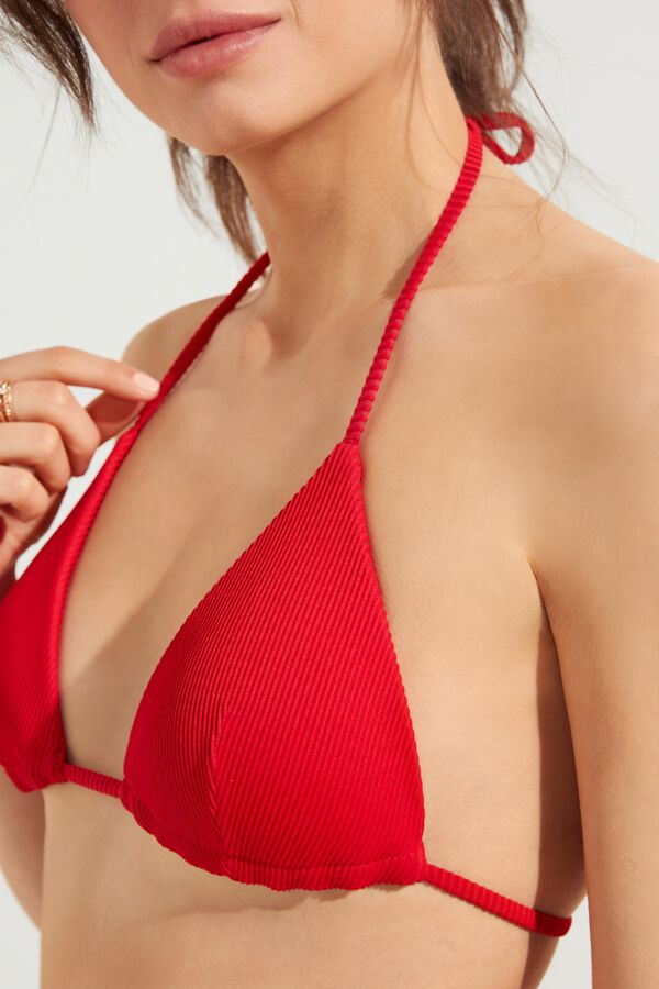 Lightly Padded Ribbed Triangle Bikini Top