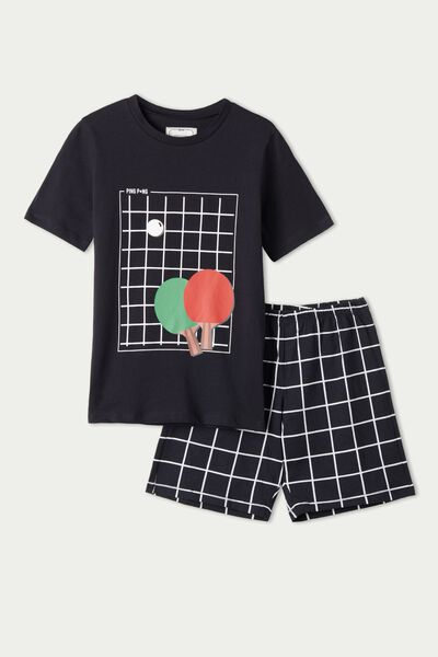Kurzer Jungenpyjama aus Baumwolle mit Tischtennis-Print