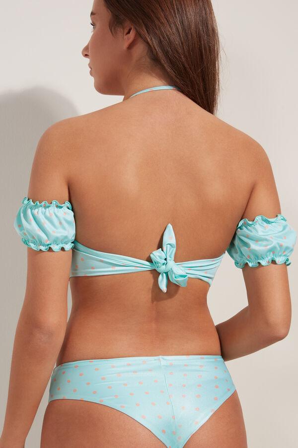 Little Dots Padded Bandeau Bikini Top with Sleeves