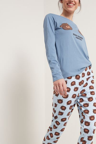 Bear Print Long Cotton Pyjamas