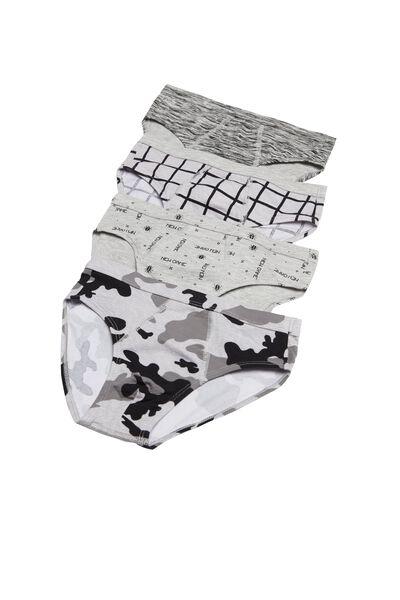 Vzorované Bavlnené Nízko Vykrojené Nohavičky, 4 Ks