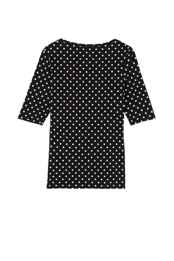 Short Sleeve, Wide-Neck Printed Cotton Top