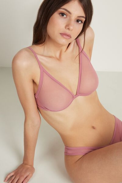 Balconette Bra in Tulle and Microfibre
