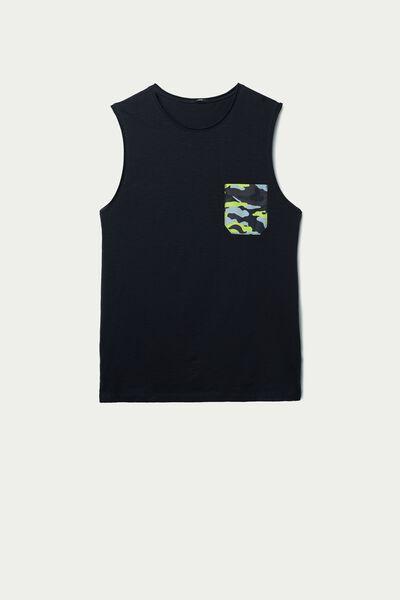 Slub Cotton Vest with Pocket