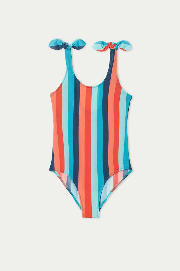 Jednodílné Dívčí Plavky s Barevnými Pruhy