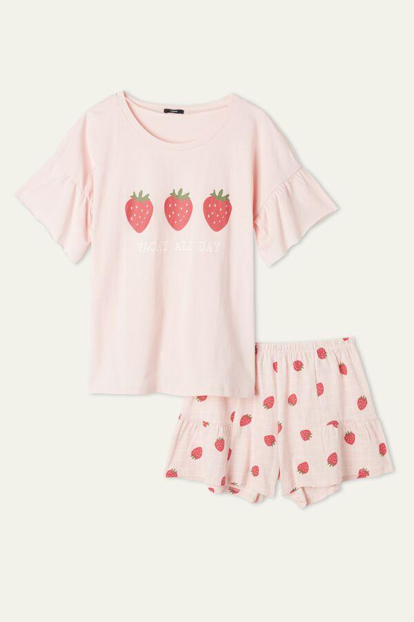 Pyjama Court Manches Trois Quarts avec Volant Fraises