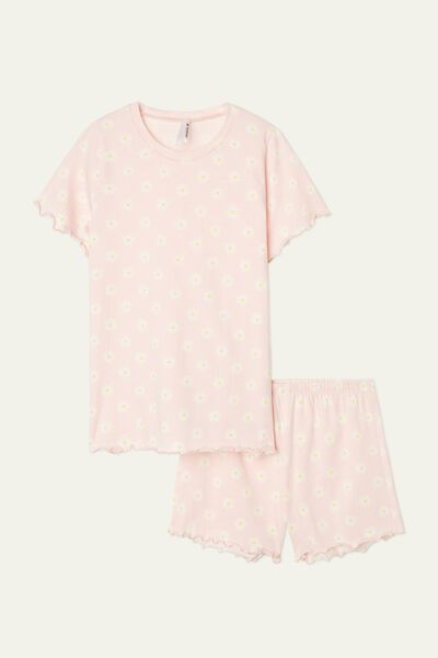 Girls' Daisy Print Short Cotton Pyjamas