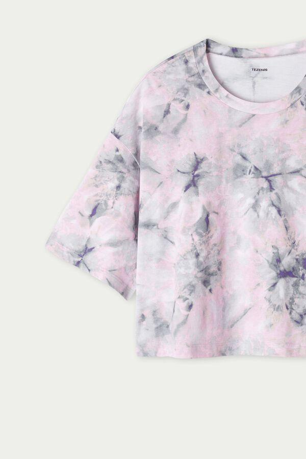 Short Half-Sleeve Drop-Shoulder Cotton T-Shirt