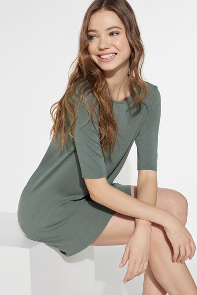 Short Sleeve Smock Dress in Light Jersey