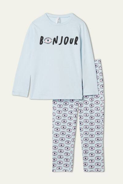 Girls' Bonjour Print Long Cotton Pyjamas