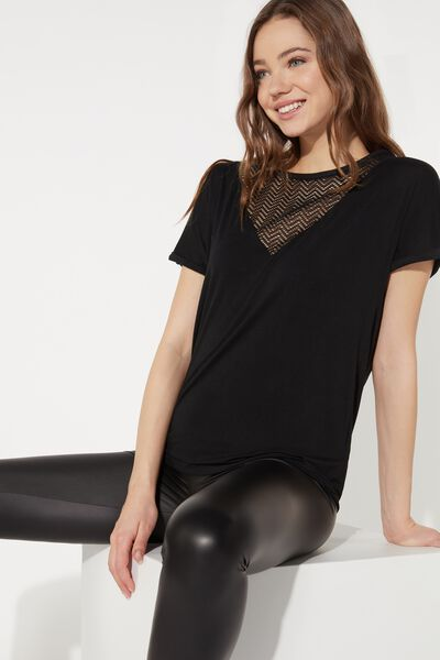 Short Sleeve Top with Mesh Insert