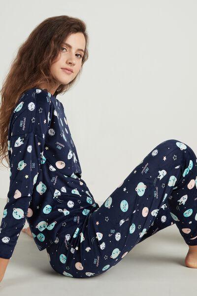 Mr. Wonderful Space Print Long Cotton Pyjamas
