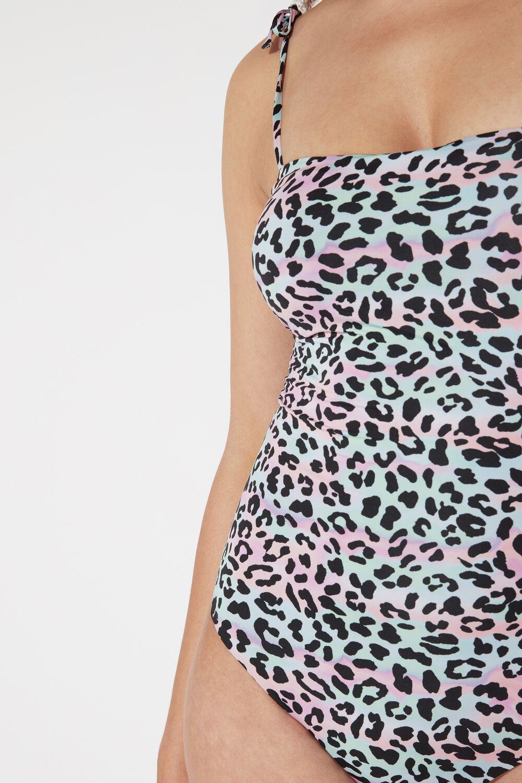 One-Piece Animal Colors Bandeau Swimsuit