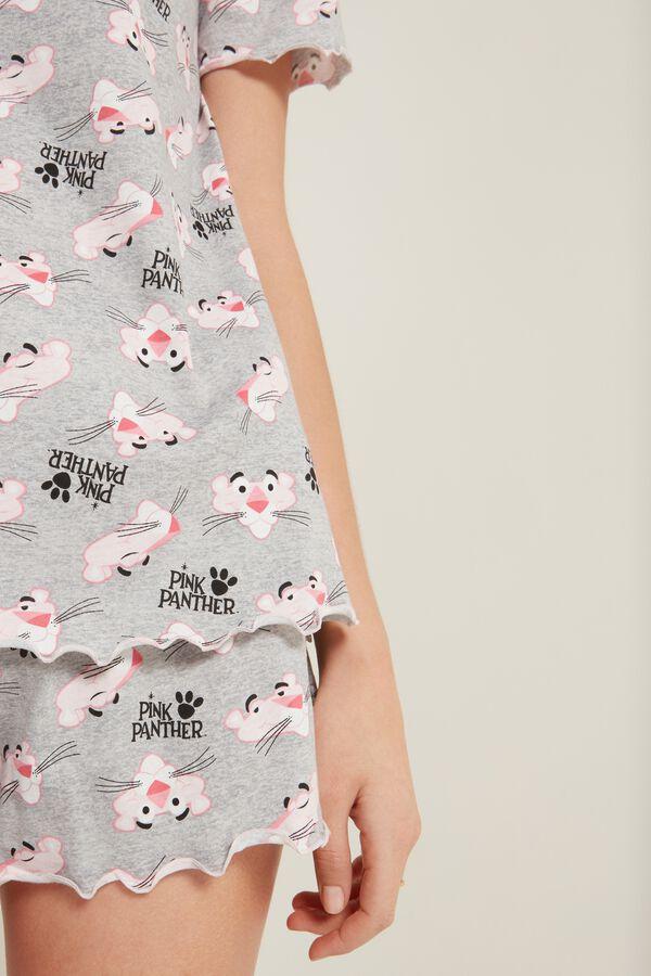 Short Cotton Gray Pink Panther PJ Set