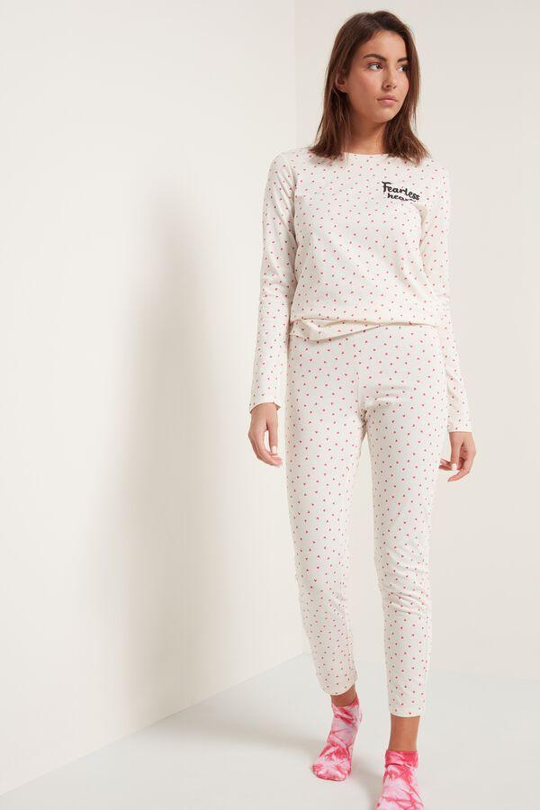 Cotton Micro Heart Print Pajamas