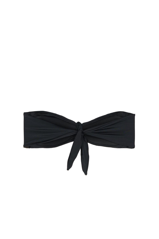 Solid Color Smock Low-Cut Bandeau Bikini