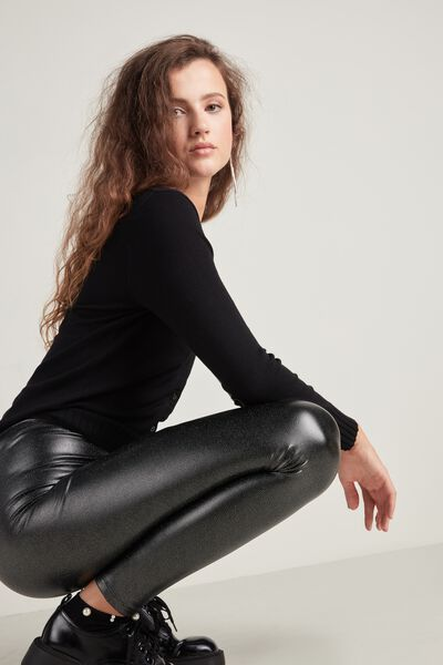 Glitter Faux Leather Thermal Leggings