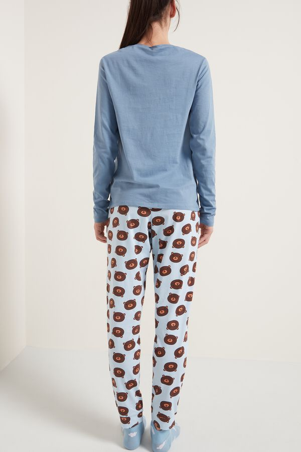Bear Print Long Cotton Pyjamas