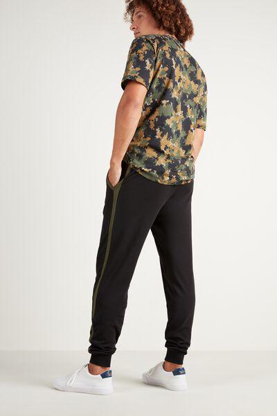 Lange Hose aus schwerer Baumwolle mit Paspelierung