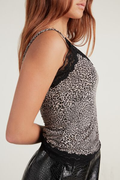 V Neck Tank Top with Lace Insert