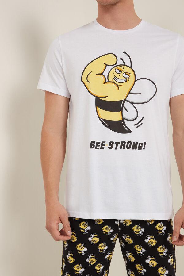 Kurzer Herrenpyjama aus Bio-Baumwolle mit Bienenprint