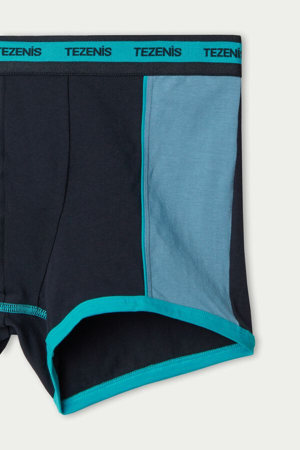 Two-Tone Cotton Boxers with Elasticated Logo Waistband