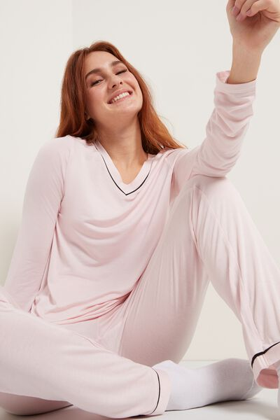 Long Viscose Pajamas with Piping