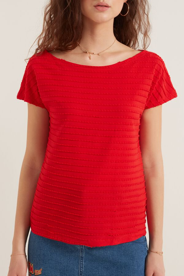 Short Sleeve Top with Scalloping