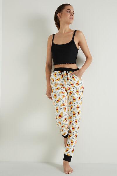 Lange Baumwollhose mit Taschen und Winnie Pooh Print